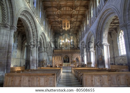 The inside view of St. Davids cathedral in Pembrokeshire of England.