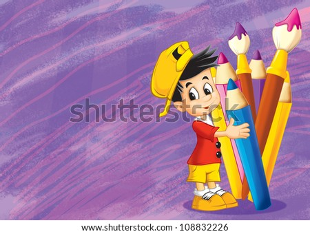 The inspirational illustration - back to school - art training - drawing good for children 2 - stock photo