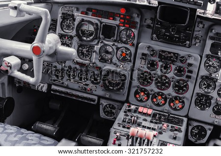 the instrument panel in the cockpit of a private jet - stock photo