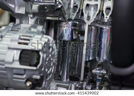The intake valve of modern engine with piston cylinder - stock photo