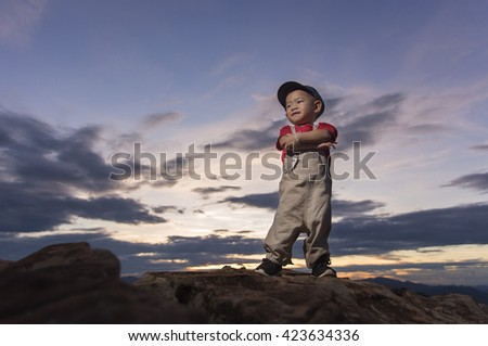 The intention of the child. - stock photo