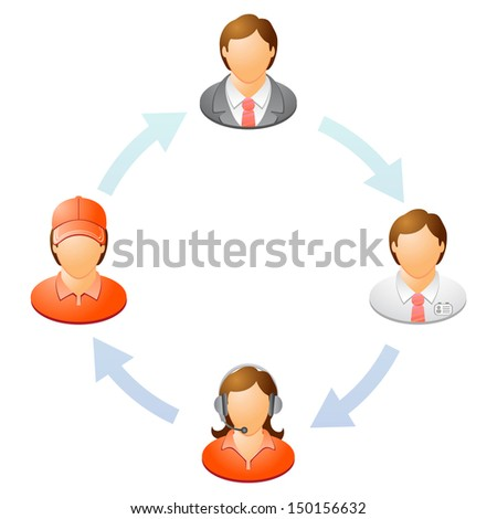 The interaction of the staff. Teamwork flow chart. Network of people. Raster version, vector file also included in the portfolio. - stock photo