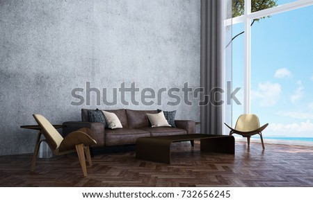 The Interior Design Of Lounge And Living Room And Concrete Wall Texture And  Sea View /