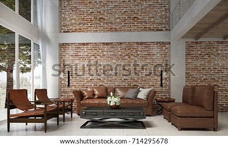 The Interior Design Of Lounge And Living Room And Leather Sofa Set And Red  Brick Wall