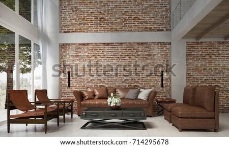 Interior Design Lounge Living Room Leather Stock Illustration 714295678 Shutterstock