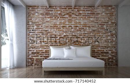 Interior Design Minimal Bedroom Brick Textureภาพประกอบ ...