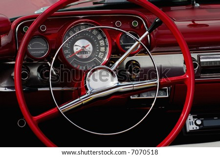 The interior in a convertible. - stock photo