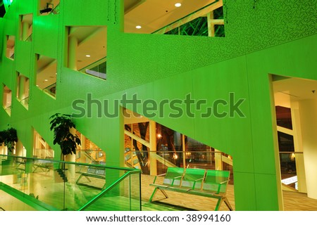 The interior look of the city hall in green lighting, edmonton, alberta, canada