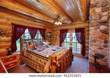 Interior Bedroom Modern Yet Rustic Log Stock Photo 362351825 Shutterstock
