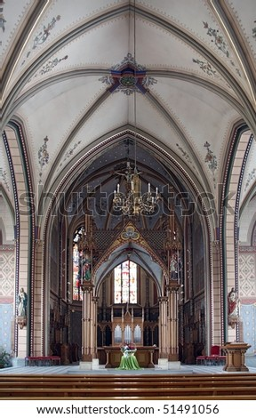The interior of a catholic church in europe - stock photo