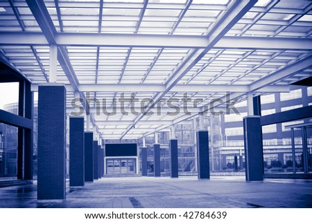 the interior of a office building in china. - stock photo