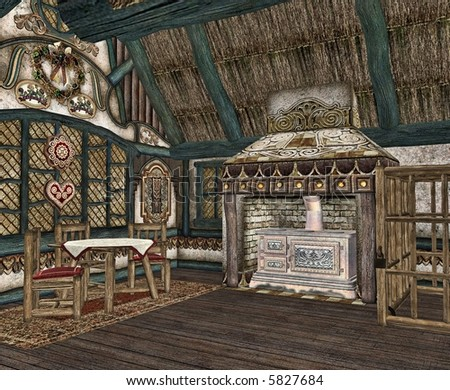 The interior of a tiny fairytale cottage. - stock photo