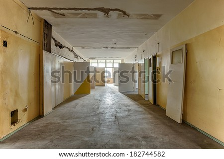 The interior of an abandoned building - stock photo