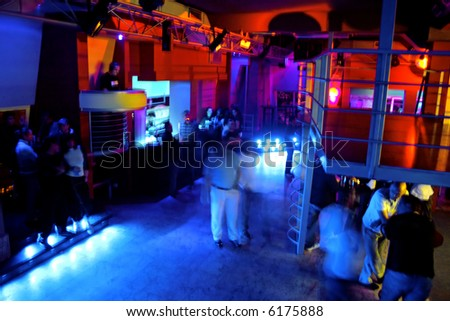 the interior of an empty club - stock photo