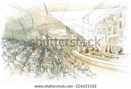 the interior of the auditorium - stock photo
