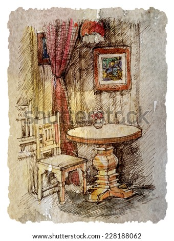 the interior of the cafe, sketch, water-colour