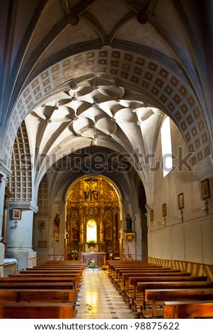 The Interior of the Cathedral in Almudevar, Spain