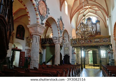 The interior of the church of the Holy Trinity and the Blessed Virgin Mary in Strzelno, Poland. Photo taken on September 1th, 2015