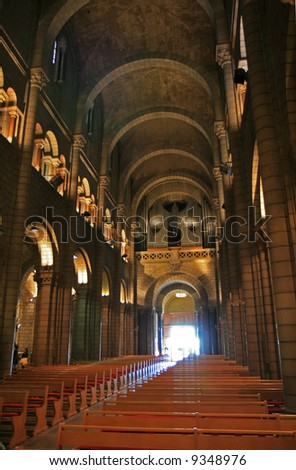 The interior of the Monaco Cathedral as viewed from the inside out.
