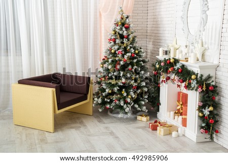 The interior of the New Year and Christmas style
