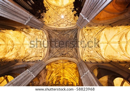 The interior of the old church in Granada. Spain