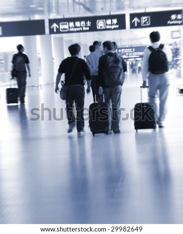 the interior of the pudong airport in shanghai china. - stock photo