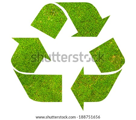 The international Recycle symbol with green moss texture, isolated on white background - stock photo