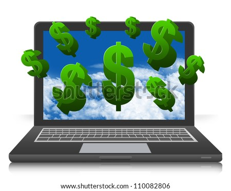 The Internet Earning Concept, Present With Dollars Running Out of Computer Laptop Isolated on White Background - stock photo