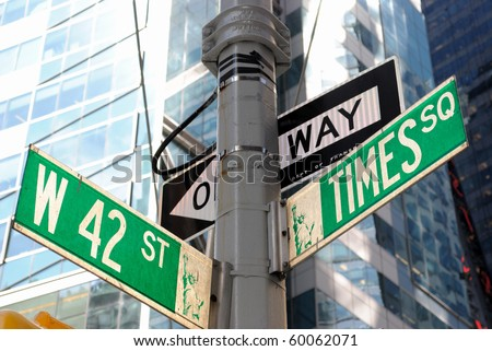 the intersection of 42nd street and Times Square in New York City.