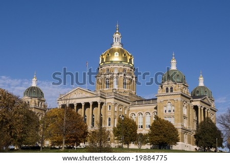 The Iowa State Capitol Building in downtown Des Moines - stock photo