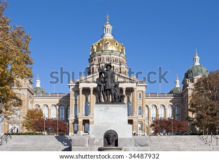 The Iowa State Capitol Building in downtown Des Moines. - stock photo