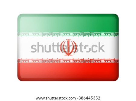 The Iranian flag. Rectangular matte icon. Isolated on white background. - stock photo