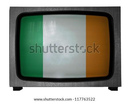 The irish flag painted on old TV - stock photo