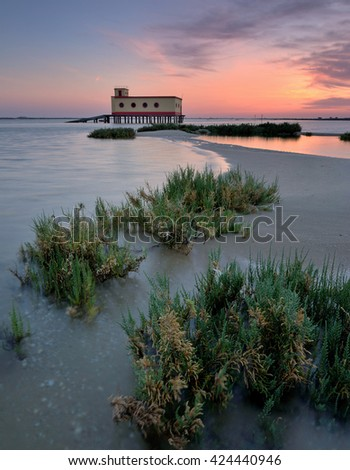 the island home ,  Beach fuseta, Olhao Algarve, Portugal - stock photo
