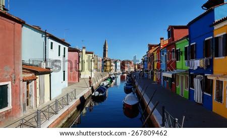 the island of Burano, Italy - stock photo