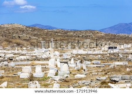 the island of Delos,one of the most important archaeological sites in Greece  - stock photo