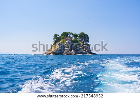 The islands next to the coast of Petrovac is very popular place for tourist trips, Montenegro.