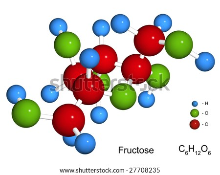 The isolated 3D model of fructose on a white background - stock photo