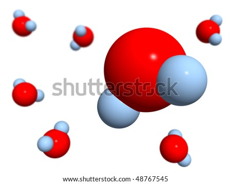 The isolated 3D models of water on a white background - stock photo