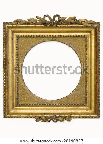 The isolated gold old frame - stock photo