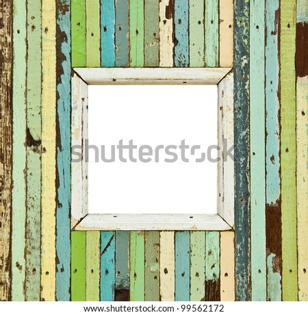 The isolated image of the colorful wooden picture frame - stock photo