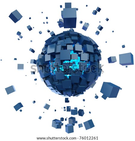 the isolated image sphere consisting of cubes - stock photo