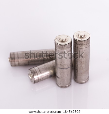 the isolated of the old AA battery is energy refill on white background