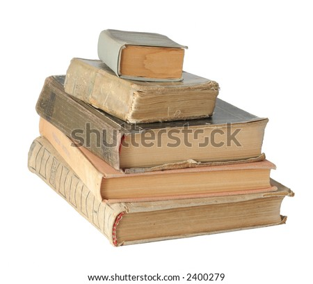 The isolated photo of the pile old books