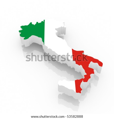 The Italy country map  on a white background. Clipping path included.