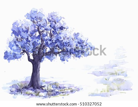 Jacaranda Trees Watercolor Sketch Stock Illustration 510327052