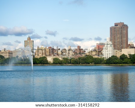 The Jacqueline Kennedy Onassis reservoir at Central Park in New York - stock photo