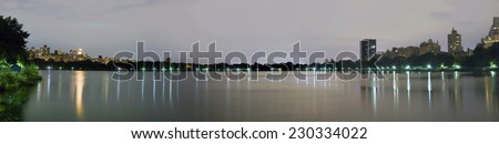 The Jacqueline Kennedy Onassis Reservoir in Central Park New York. - stock photo