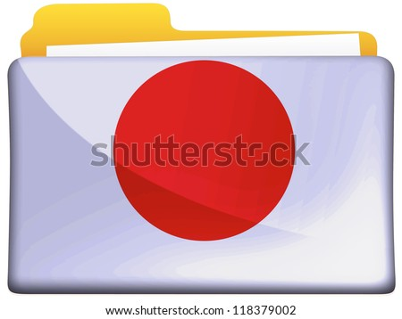 The Japan flag painted on  file folder icon - stock photo