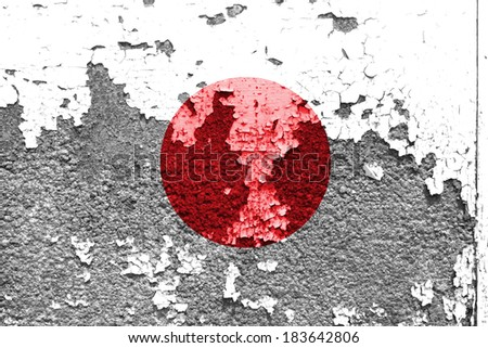 The Japan flag painted on grunge wall  - stock photo